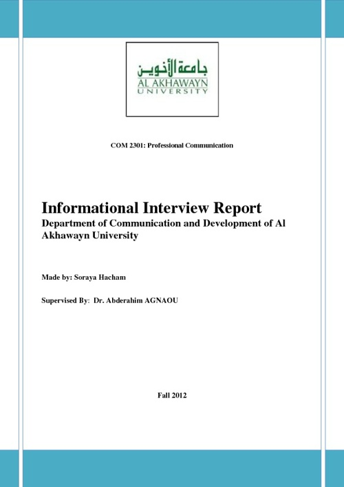 Informational interview with Mrs.Amina Lahbabi