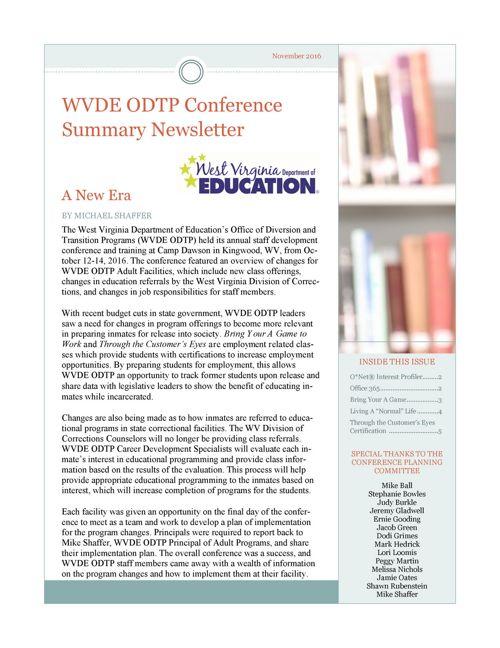 WVDE ODTP December 2016 Newsletter