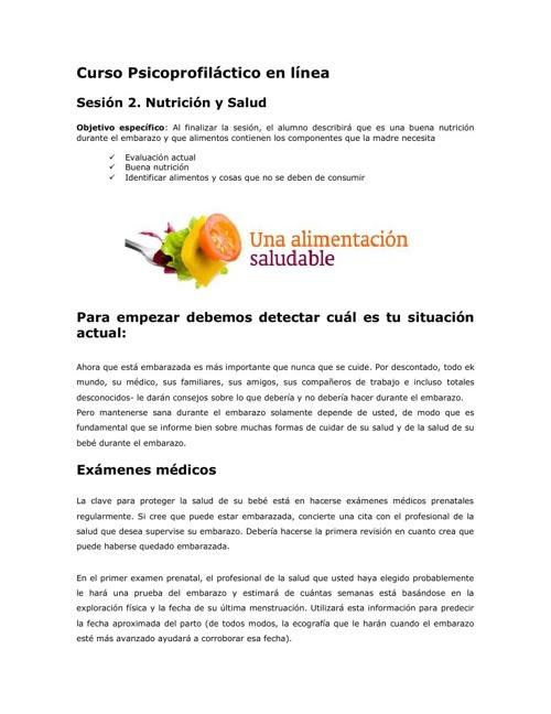 Nutrición y Salud para las embarazadas