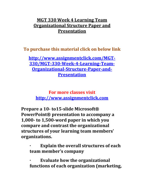 UOP MGT 330 Week 4 Learning Team Organizational Structure Paper