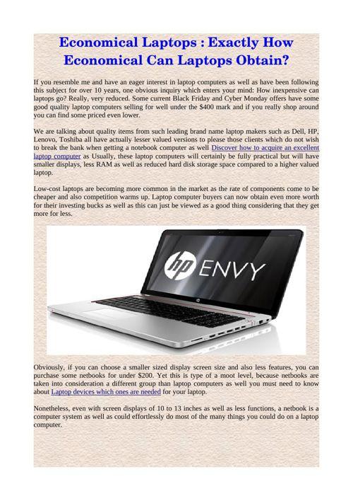 Economical Laptops : Exactly How Economical Can Laptops Obtain