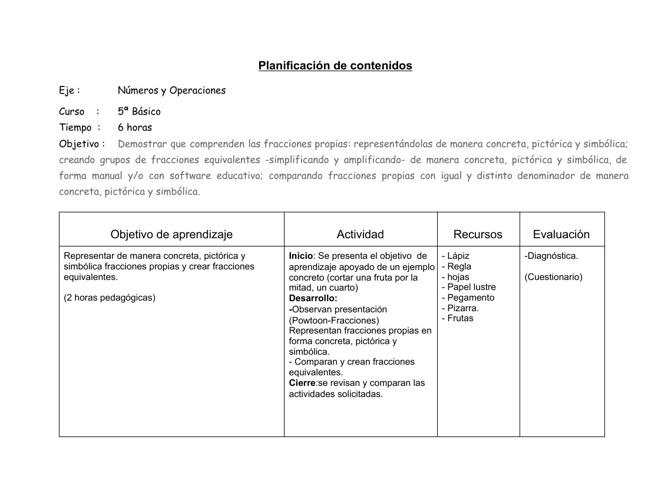 Planificación Números y Operaciones  5° Basico