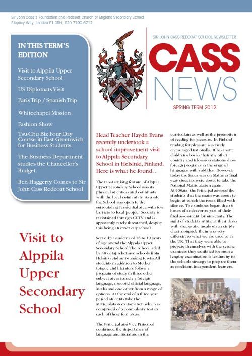 Sir John Cass School Spring Newsletter 2012