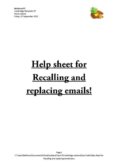 Help sheet for replacing and recalling emails