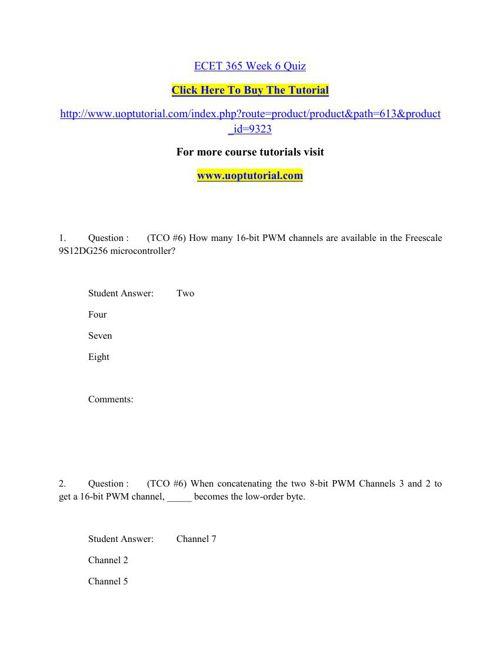 ECET 365 Week 6 Quiz