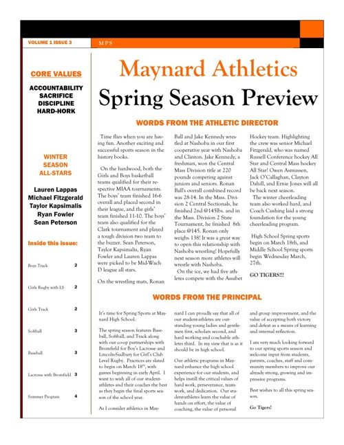 Maynard Athletics Spring Preview