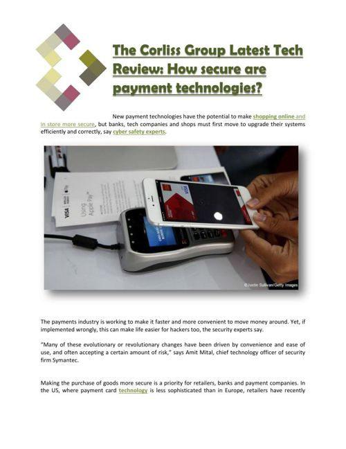 The Corliss Group Latest Tech Review: How secure are payment tec