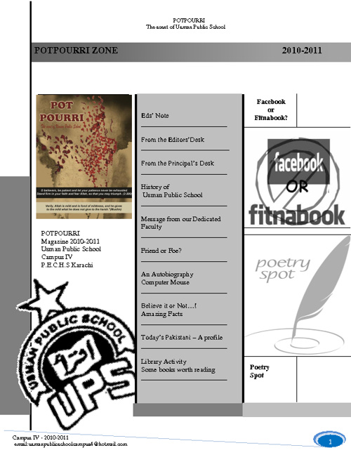 Pot Pourri - UPS - CAMPUS IV- Annual Magazine