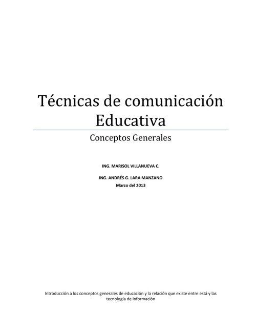 Tecnicas de Comunicacion Educativa