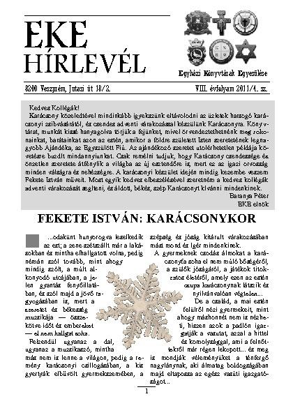 EKE HÍRLEVÉL 2011. 8. évfolyam. 4. szám