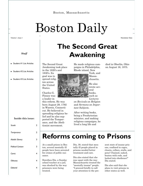 Andre and Lucas's newspaper