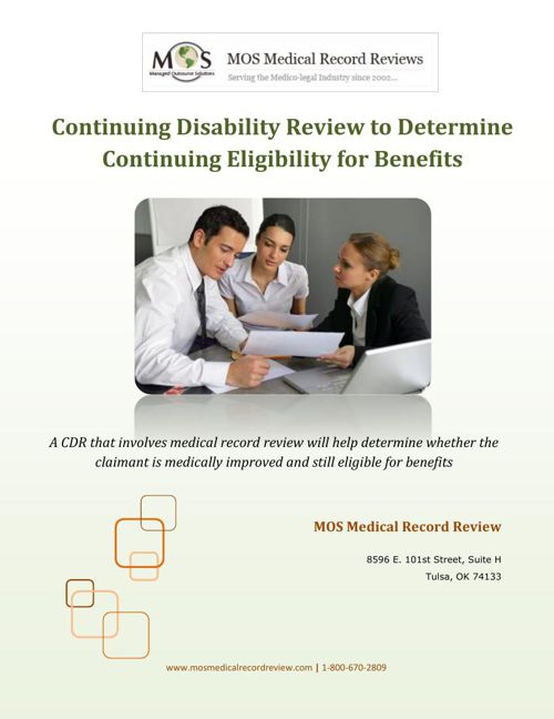 CDR to Determine Continuing Eligibility for Benefits