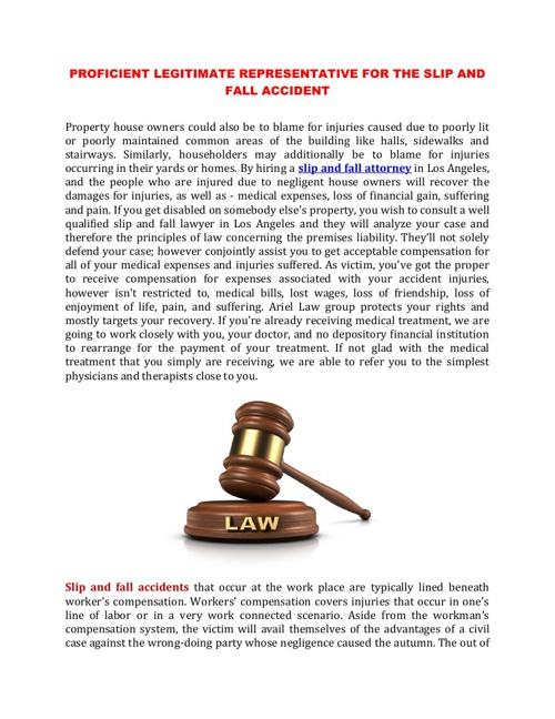 PROFICIENT LEGITIMATE REPRESENTATIVE FOR THE SLIP&FALL ACCIDENT