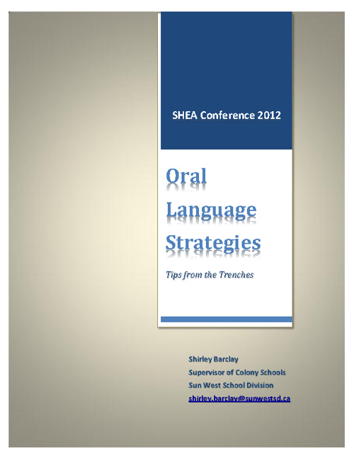 Oral Language Activities - Tips from the Trenches
