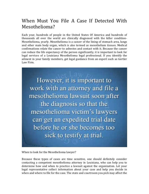 Once Diagnosed With Mesothelioma, When Should You File A Lawsuit