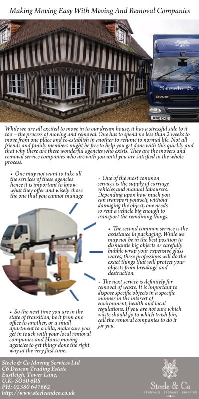 Making Moving Easy With Moving And Removal Companies