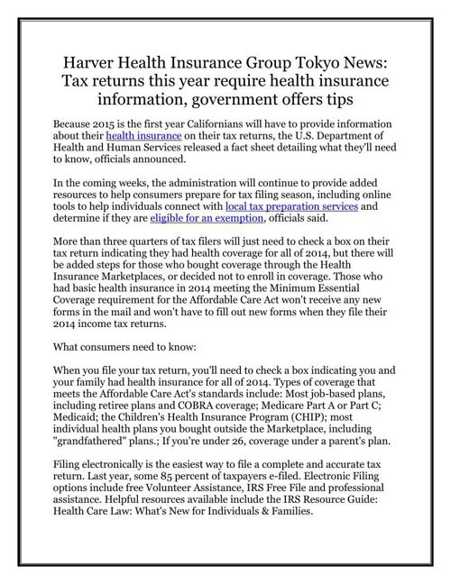 Harver Health Insurance Group Tokyo News: Tax returns this year