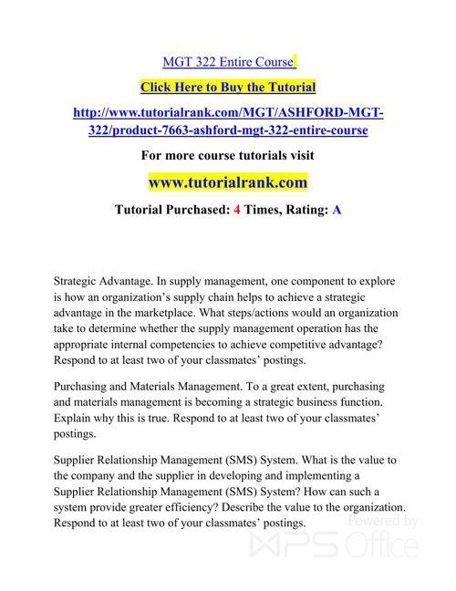 MGT 322 UOP Courses /TutorialRank