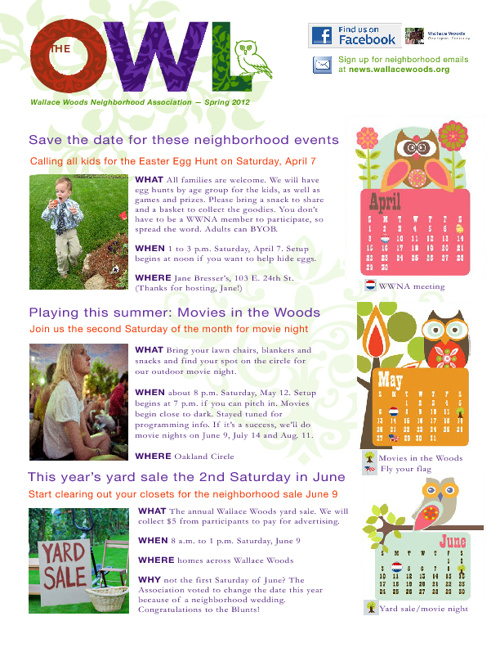 Wallace Woods Spring 2012 Newsletter