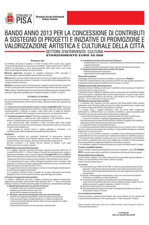 Bando Cultura 2013 - Comune di Pisa