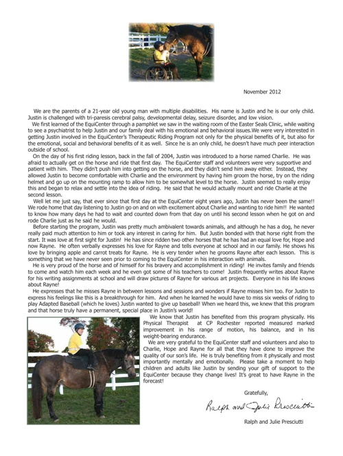 Justin's Letter and 2012 EquiCenter Post