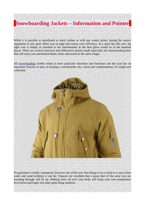 Snowboarding Jackets – Information and Pointer