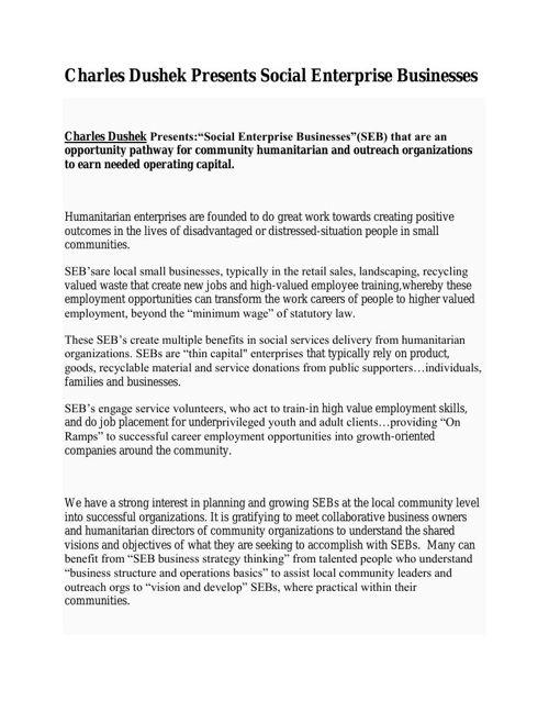 Charles Dushek Presents Social Enterprise Businesses