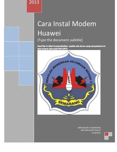 CARA INSTAIL MODEM HUAWEI TER