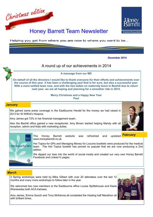 Team Newsletter Dec 2014