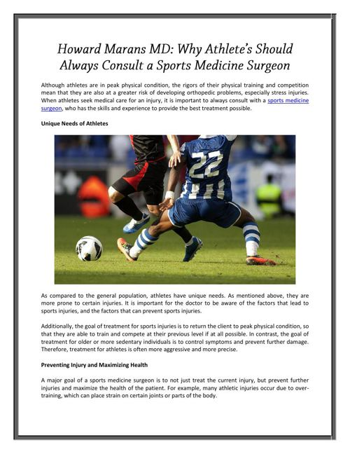 Howard Marans MD: Why Athlete's Should Always Consult a Sports M