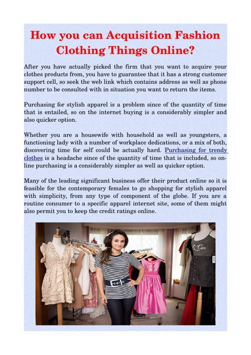 How you can Acquisition Fashion Clothing Things Online