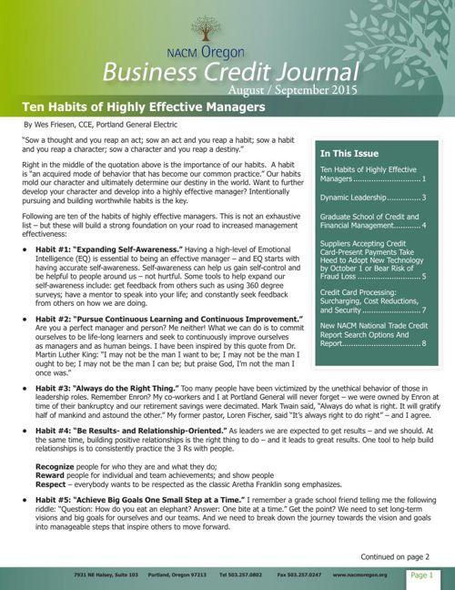 NACM Oregon Business Credit Journal Aug/Sept