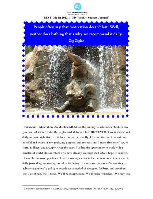 Sample Fitness INSPIRATION! Inc. Online Success Journal