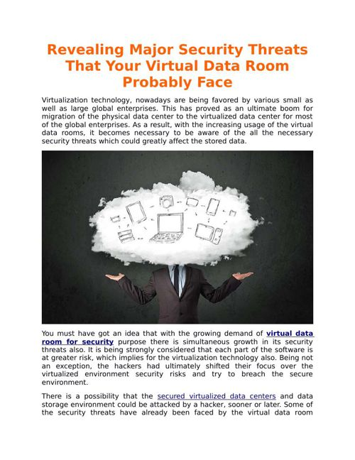 Revealing Major Security Threats That Your Virtual Data Room Pro