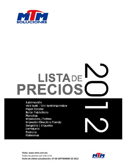 Lista de Precios MTM Soluciones 2012