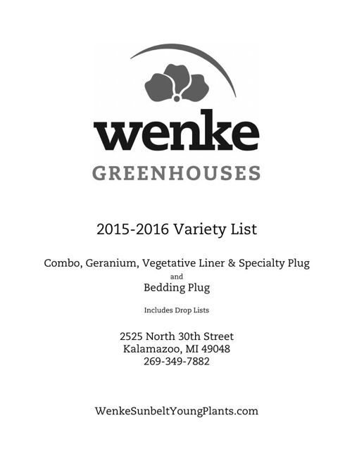 Wenke Greenhouses 2015-2016 Young Plants Variety List