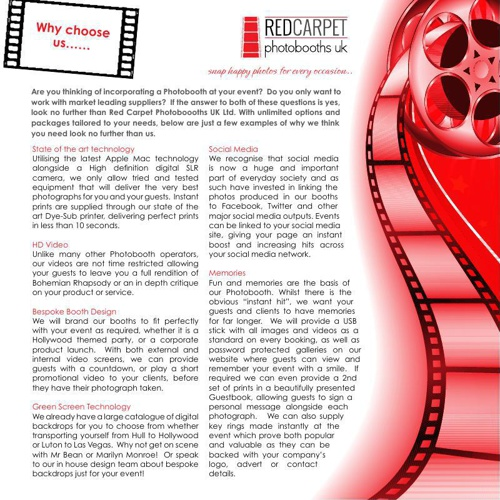 Red Carpet Photobooths Brochure