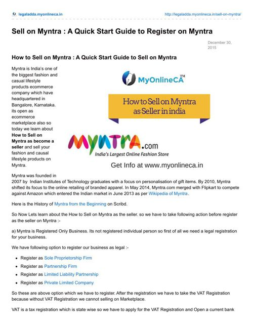 How to Sell on Myntra