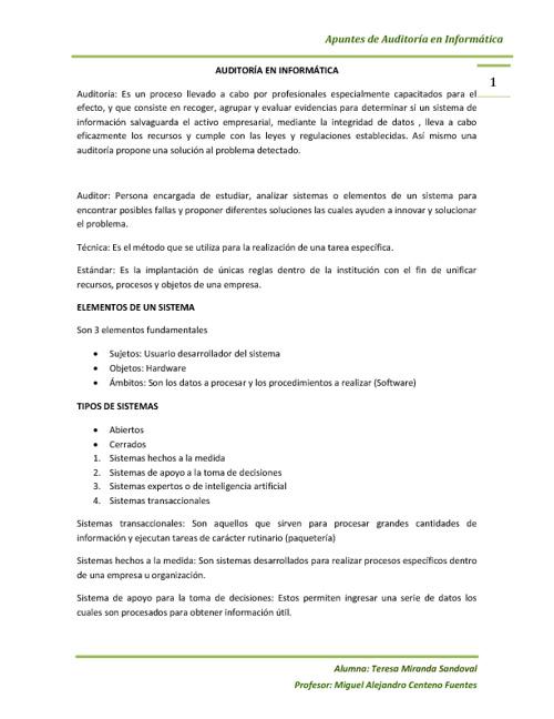 APUNTES DE AUDITORIA EN INFORMATICA