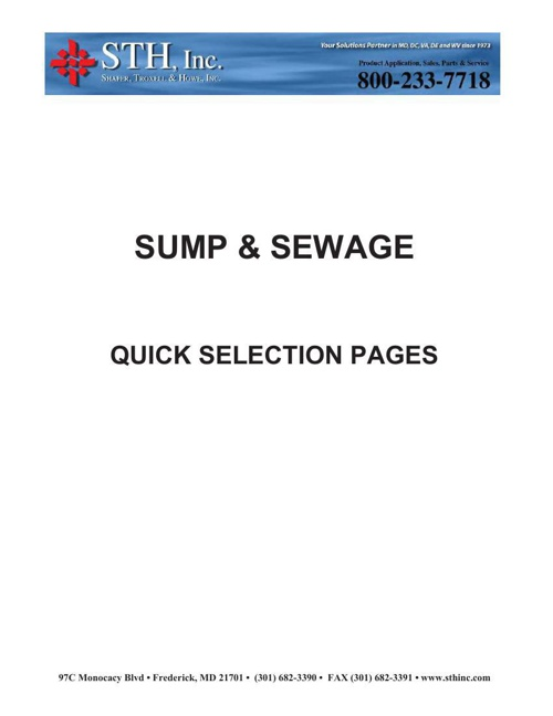 Sump and Sewage - Quick Selection Guide
