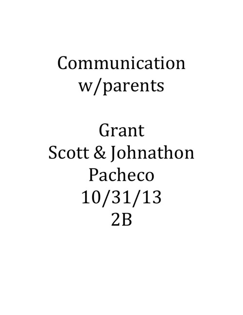 Communication w/Parents