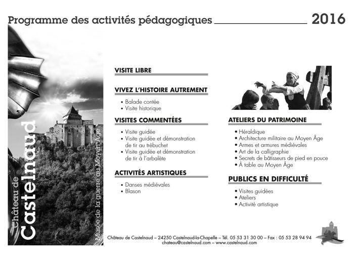 Brochure des activités pédagogiques