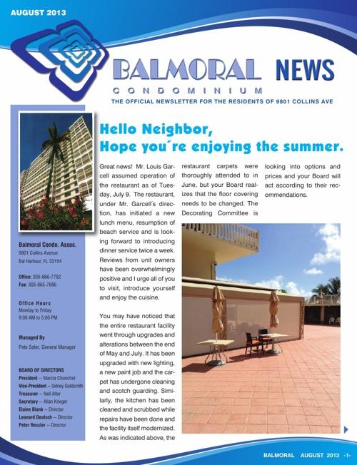Balmoral August 2013 Newsletter