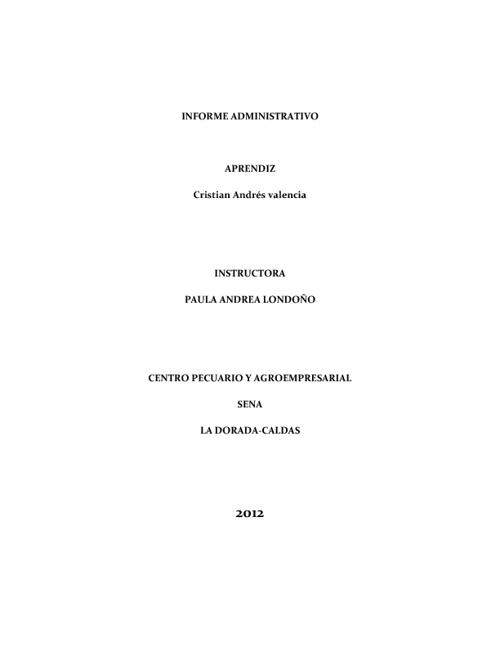 informe adminitrativo