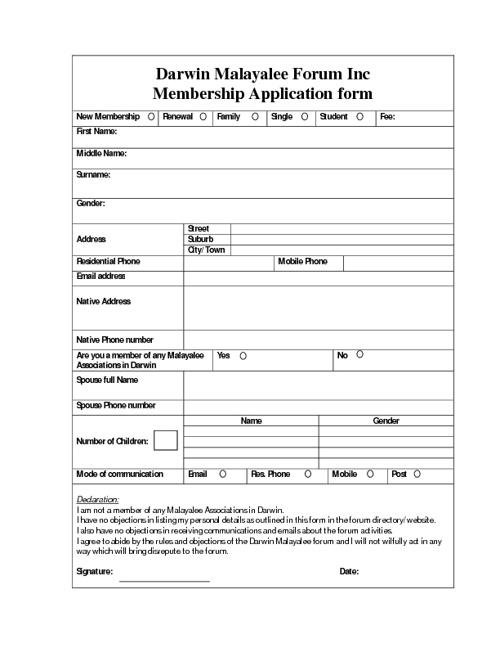 Darwin Malayalee Forum membership form