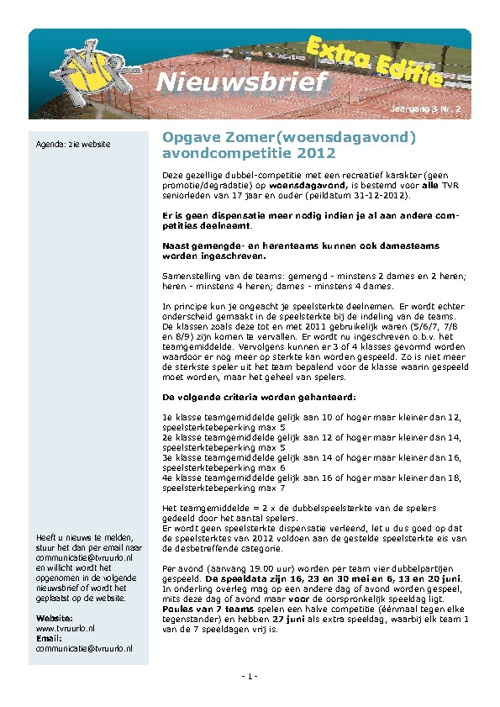 TV Ruurlo Nieuwsbrief 2-2012