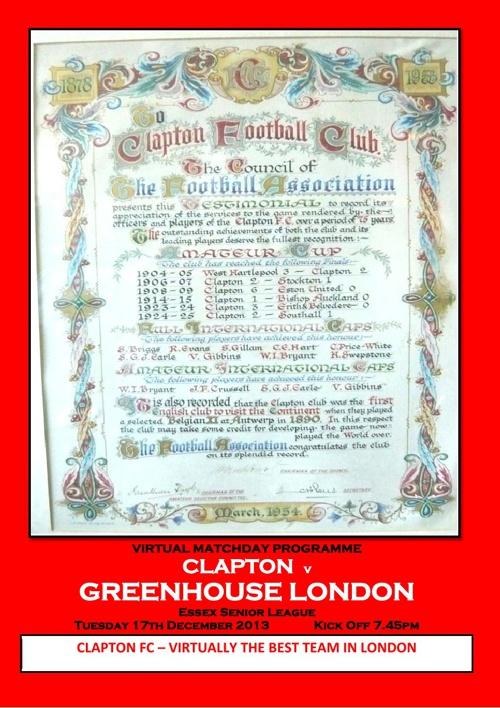 Clapton fc v Greenhouse London FC