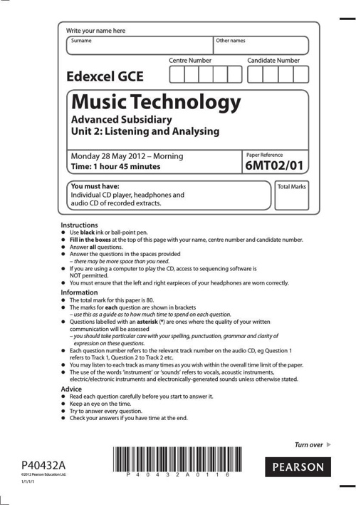 2012 6MT02 AS Listening Exam Paper