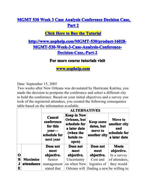 case analysis conference decision case gm530