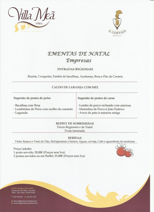 VILLA MEÃ - EMENTAS NATAL 2012